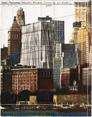 Lower Manhattan Wrapped Building, Project For 2 Broadway, New York by Christo JAVACHEFF