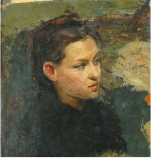 Portrait Of Vera Repina, The First Wife Of The Artist by Ilya Efimovich REPIN