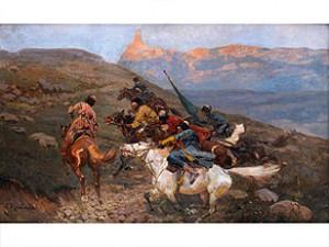 Tscherkessen Zu Pferde by Franz Alexeivich ROUBAUD