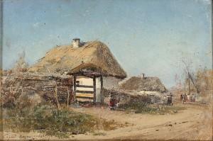 Vitt Hus Med Vasstak by Sergei Ivanovich VASILKOVSKY