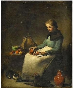Flicka Med Apelsiner by Théodule Augustin RIBOT
