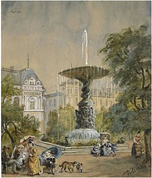 Kungsträdgården Med Molins Fontän Och Arsenalsgatan I Bakgrunden by Fritz Von DARDEL