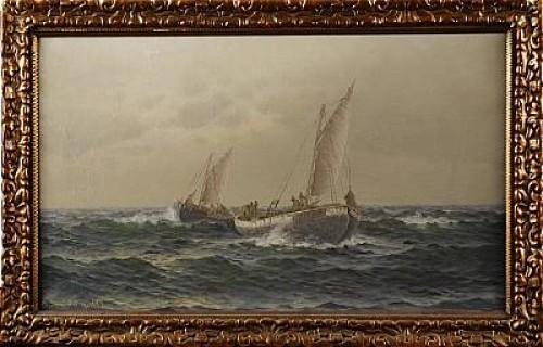 Kustbild Med Segelbåtar, Signerad Och Daterad Av Konsthandlare Thure Sandström 1927 by Johan Ossian 'J. Ossian' ANDERSSON