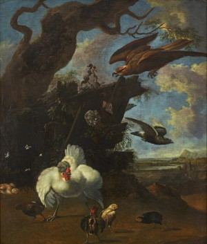 Hens, Chickens, A Dove And A Bird Of Prey In A Landscape by Melchior De HONDECOETER