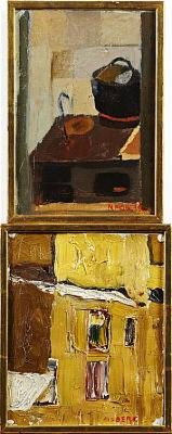 (2 St) Spisen Samt Husfasad by Maurice MOBERG