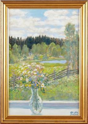 Blomster I Vas Mot Grönskande Landskap by Hans Erik ERIKSSON