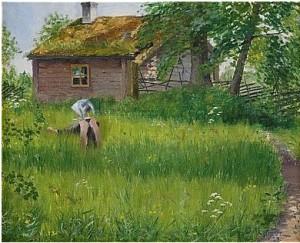 Flicka I Sommargrönska by Olof SAGER-NELSON
