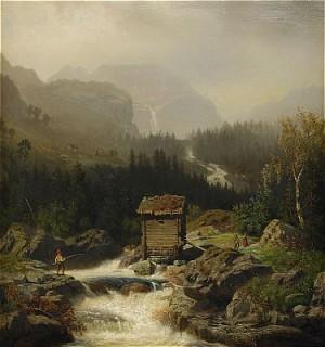 Nordiskt Bergslandskap Med Fors by Edward BERGH