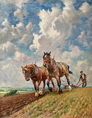 Ploughing The Fields by Wright BARKER