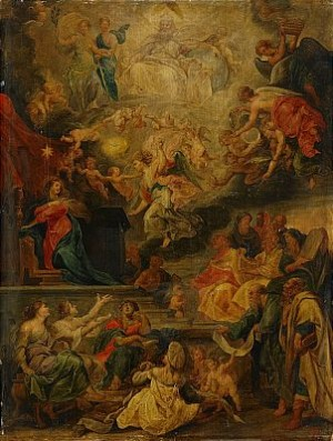 Sk Skola, Hans Efterföljare, Omkring 1700 Allegorisk Framställning Av Inkarnationens Uppfyllande Av Alla Profetior by Peter Paul RUBENS