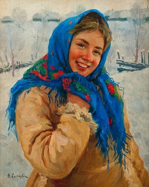 Girl With A Blue Scarf by Fedot Vasilievich SYCHKOV