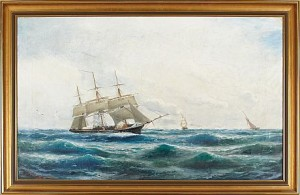 Tremastad Bark Till Havs by Christian Fredrik SWENSSON