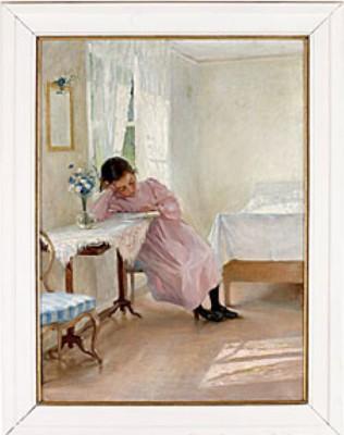 Läsande Flicka Vid Fönster by Fanny BRATE