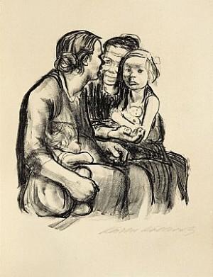 Zwei Schwatzende Frauen Mit Zwei Kindern by Käthe KOLLWITZ