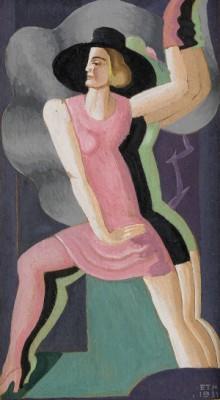 Dansöser, Komposition Med Kvinna I Rosa by Esaias THORÉN