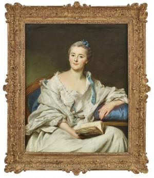 Porträtt Av Marie-françoise Julie Constance Filleul, Marquise De Marigny Sittande Med En öppen Bok I Höger Hand by Alexander ROSLIN