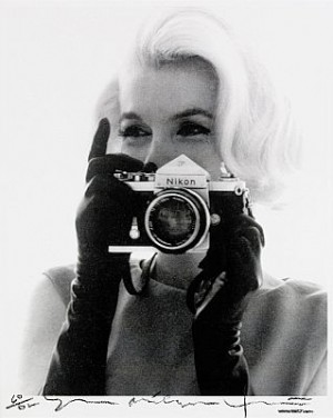 Marilyn Monroe With Nikon Camera by Bert STERN