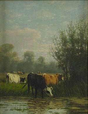 Landscape With Cows by Mikhail Ivanovich KHOLODOVSKY
