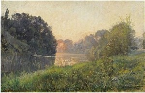 Landskap Med Flod by Alfred WAHLBERG