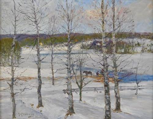 Norrländskt Vinterlandskap Med Björkar by Anton GENBERG