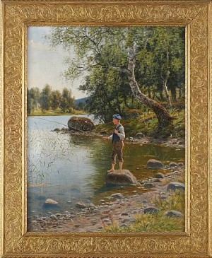 Fiskande Pojke Vid Strandkanten by Peter Adolf PERSSON