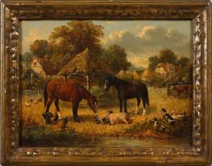 Bymotiv Med Hästar Och Grisar I Förgrunden by John Frederick The Younger HERRING