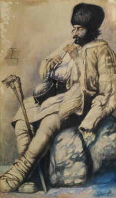 Russisch/ Kaukasischer Flötenspieler In Offener Felljacke by Franz Alexeivich ROUBAUD