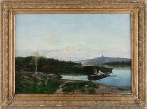 Jakt Vid Hammarbysjö, Utsikt Mot Södermalm by Hjalmar SANDBERG