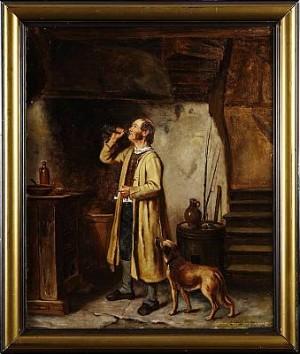 Köksinteriör Med Man Och Hund by August JERNBERG