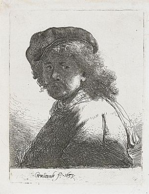 Self Portrait In A Cap And Scarf With The Face Dark by Rembrandt Harmenszoon Van RIJN