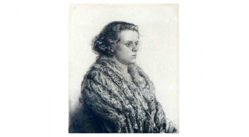 Ung Kvinna I Päls (fru Ingrid Fridell) by Axel FRIDELL