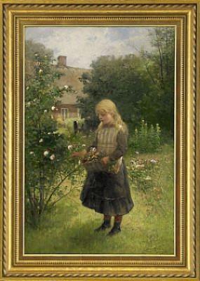 Blomsterplockande Flicka by Severin NILSON