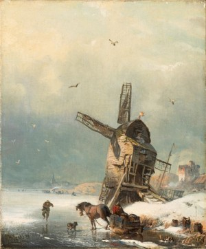 Windmill In The Snow by Carl HILGERS