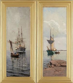 Brittisk Tremastad Fullriggare Samt Svensk Tvåmamstad Skonare by Christian Fredrik SWENSSON
