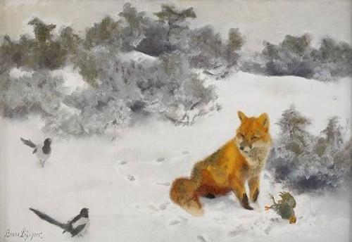 Räv I Vinterlandskap by Bruno LILJEFORS