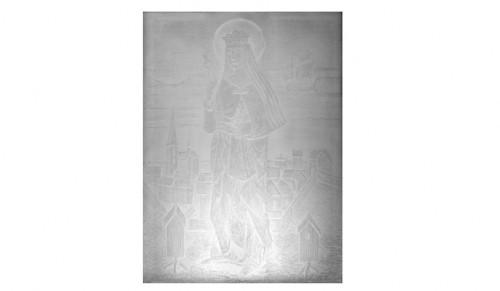 Orrefors Glasbruk. Glasrelief, Blästrad Dekor Föreställande Sankta Apollonia, I Bakgrunden Stadsmotiv by Edward HALD