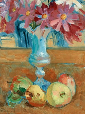 Stilleben, Blommor I Vas Och Frukter by Isaac GRÜNEWALD
