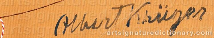 Signature by Albert KRÜGER