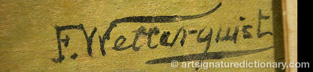 Signature by F WETTERQUIST