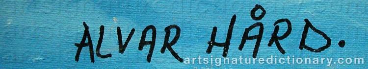 Forged signature of Alvar HÅRD