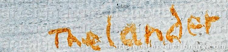 Signature by Pär Gunnar 'P. G.' THELANDER