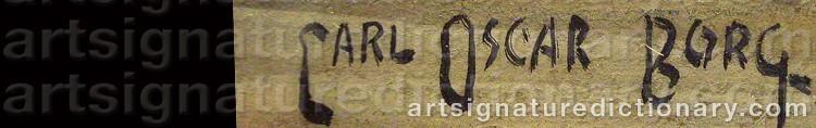 Signature by Carl Oscar BORG