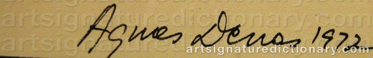 Signature by Agnes DENES
