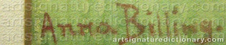 Signature by Anna BILLING
