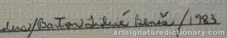 Signature by Barton Lidice BENES