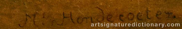 Signature by Melchior De HONDECOETER