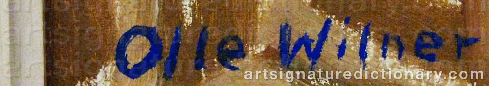 Signature by Erik Olof 'Olle' WILNER