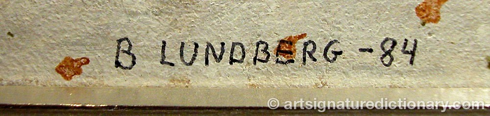 Signature by B LUNDBERG