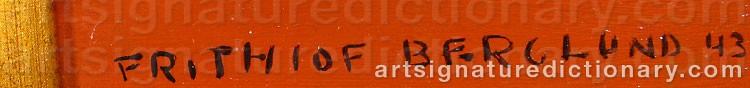 Signature by Frithiof BERGLUND