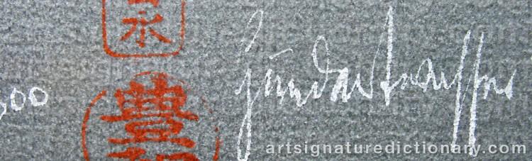Signature by Friedensreich HUNDERTWASSER